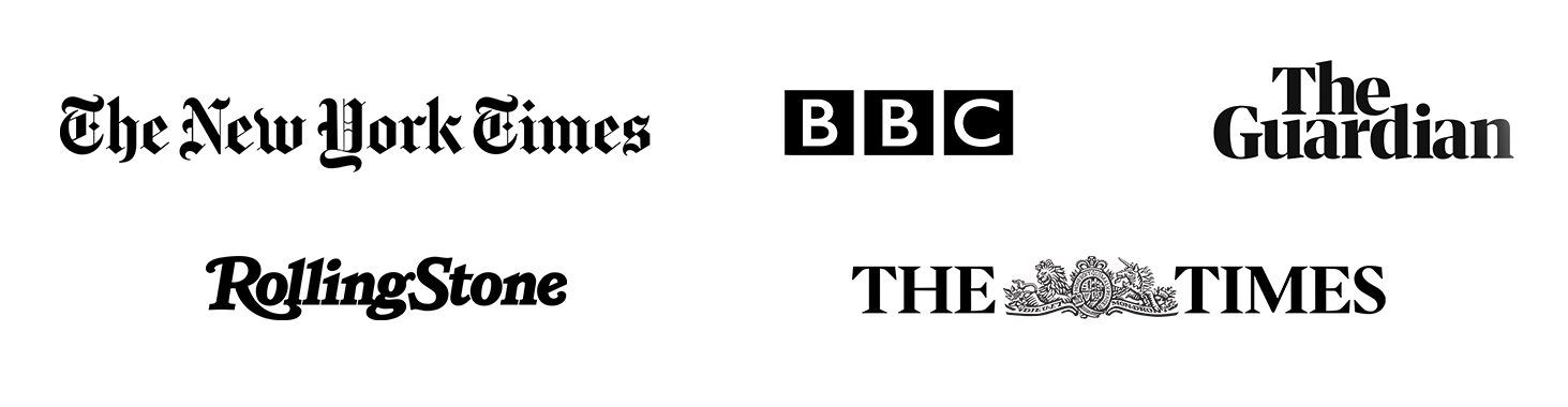 New York Times logo, BBC logo, Rolling Stone logo, The Guardian logo